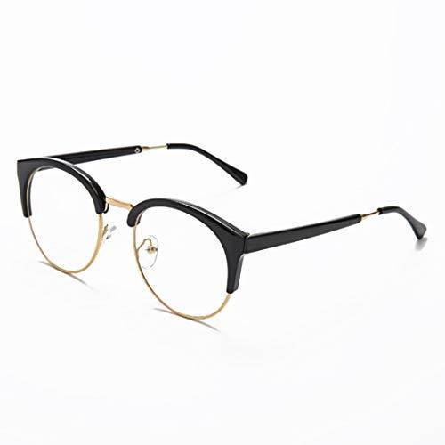 Shiduoli Eyewear Brillengestell Brillengestell Brillenglas Unisex Unisex stilvolle Brillen ohne Rezept für Frauen (Color : Black-Gold)