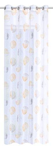 Home fashion–tenda con occhielli stampa cerchi, poliestere, giallo, 245x 140cm