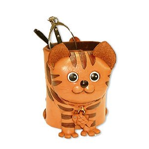 Chat tigré en cuir véritable Animal Lunettes titulaire/Support * * * * * * * * VANCA * * * * * * * * fait à la main au Japon