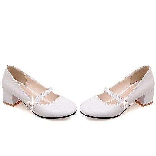 VogueZone009 Femme Verni à Talon Correct Rond Couleur Unie Tire Chaussures Légeres Blanc