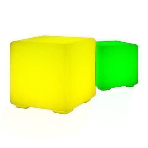 Design Hocker / Sitzwürfel / Beistelltisch mit LED RGB Beleuchtung Lounge Möbel Cube / Tisch mit Fernbedienung, Netz- und Akkubetrieb
