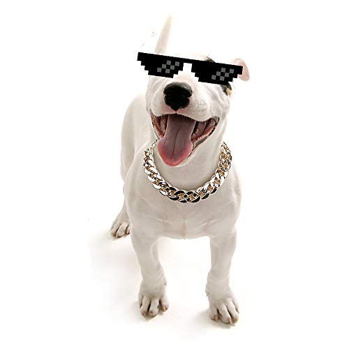 KDSANSO Hundehalsband, Welpen-Kette Halskette Starke Kette Schlange Metallhalsband Hundehalsbänder Haustier Hals Seil für Welpen Chihuahua Teddy Mops Weihnachtsfeier Dress up(Gold) (Schlange Um Den Hals Kostüm)