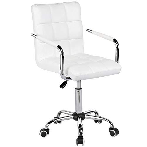 Yaheetech Bürostuhl Drehstuhl Schreibtischstuhl Drehocker Arbeitshocker, aus Kunstleder Weiß