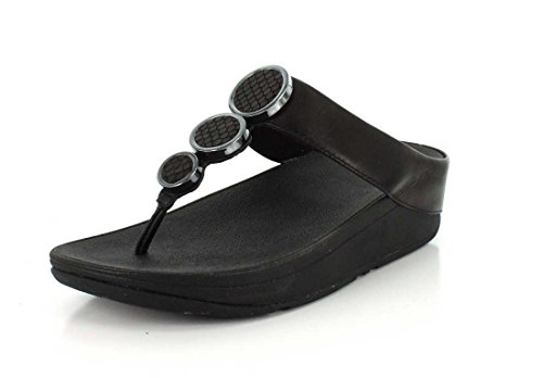 FitFlop Halo Toe Thong, Sandales Plateforme Femme Noir