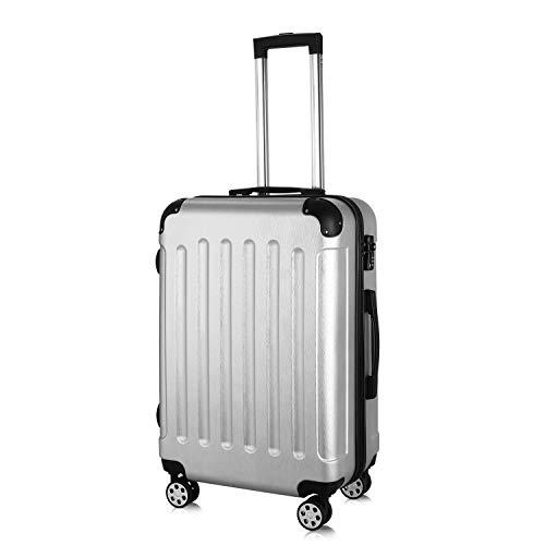 PRASACCO Reisekoffer Handgepäck Für Flug Hartschalen Koffer Trolley TSA Ultraleicht ABS Anti-Kratzer Erweiterbar 4 Rollen (Silber, 68x45x28cm)