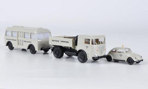 Preisvergleich Produktbild Set Im Auftrag der Bundespost: Deutsche Fernkabel - VW Käfer und Büssing LS 11 mit Busanhänger,  Modellauto,  Fertigmodell,  Brekina / PMS 1:87