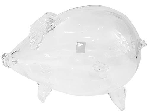 Oberstdorfer Glashütte Sparbüchse Riesen XXXL Sparschwein Glassparschwein klares mundgeblasenes Kristallglas Länge ca. 24 Durchmesser ca. 14-15 cm