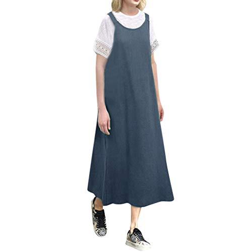 Art- und Weisefrauen Sleeveless Baumwollleinenloses Bügel beiläufiges langes Kleid Baumwolle und Leinen hängen Bandbreite lockerer Rock -