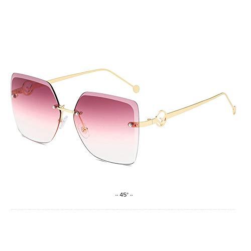 QDE Sonnenbrillen Damen Randlose Quadratische Sonnenbrille Frauen Vintage Schneiden Objektiv Gradient Sonnenbrille Für Weibliche Uv400, Lila