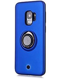Funda para Samsung Galaxy S9 Soft TPU + Duro PC Doble Parachoques,Giroscopio Rotatorio,Botón de Descompresión, con Soporte de Anillo Funda Protectora Serie -Azul Marino