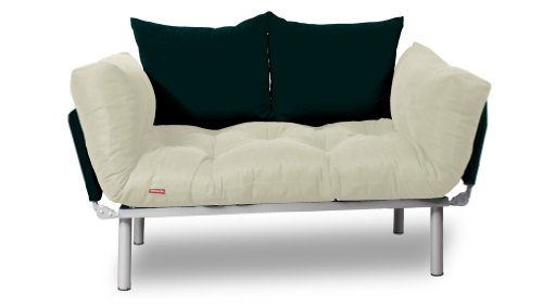 EasySitz Schlafsofa Schlafsofa Für Ein Zum Einer Sofa in Unter Schlafsessel \'\' Er Mein Futon 2 Sitzer Kissen Futonsofa 140 x 210 Schlaffunktion (Creme & Schwarz)