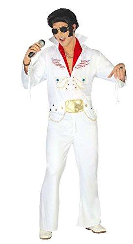 Guirca- Costume da Re del Rock Elvis Presley, Colore Bianco, Taglia única, 80762