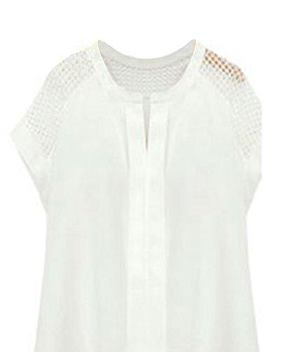 Colore Puro Rilassato Camicetta Da Donna Collo Capestro Openwork Cuciture Bianco XL Bianco
