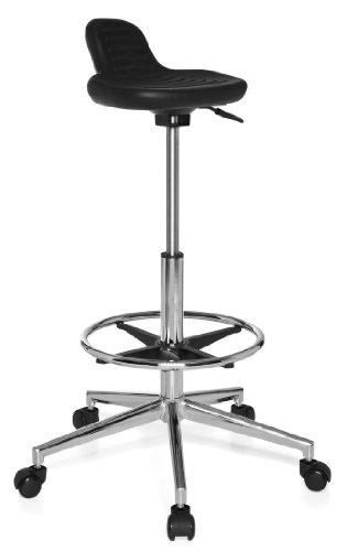 hjh OFFICE 665160 taburete de trabajo TOP WORK 03 espuma rígida negro, asiento antideslizante, cómodo, apoyapiés de acero cromado, muy alto, alta calidad, fácil de limpiar, estable, silla de trabajo, taburete cocina