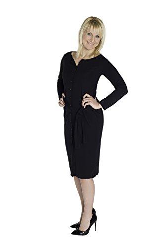 Strick-Kleid Damen knielang Jersey-Dress Frauen Strick-Jacke langarm durchgehend geknöpft mit Gürtel S