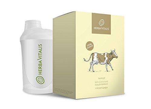 Eiweiß Shake Vanille von HerbaVitalis inkl. Shaker • 9er Starter-Set Premium Protein Shake als Mahlzeitersatz • Mahlzeitersatz Shake zum Abnehmen