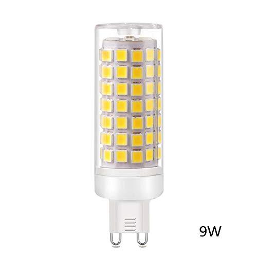 Calistouk G9 Maiskolben-LED-Lampe, Keramik-Sockel, Konstantstrom, Nicht flackernd, LED-Licht für Zuhause, cool White, 9W 110V (Kandelaber-sockel Keramik)