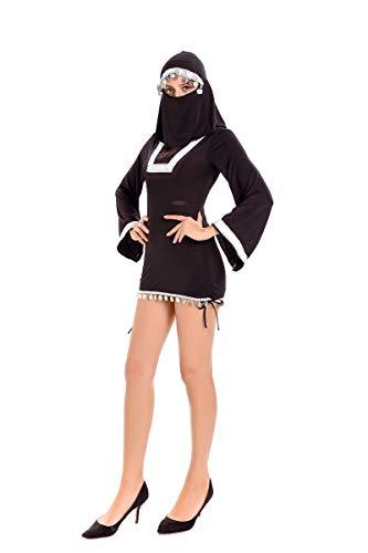 (Halloween Kostüm,Halloween Kostüm Schwarz Nonne Service Sexy Nahöstlicher Maskierter Skorpion Teach Taoist, Schwarz, U)