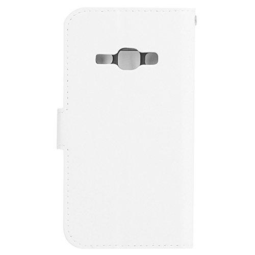 Für Samsung Galaxy J1 (2016) Solid Color Crazy Pferd Textur Horizontale Flip PU Leder Cover Case mit Halter & Card Slots & Wallet & Lanyard by diebelleu ( Color : Blue ) White