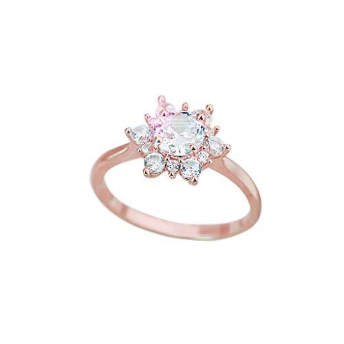 Strung Damenmode Einfache Blume Schneeflocke Diamant Ring Joint Ring Schmuck Verlobungsring Ehering Gedenkring (Gelber Princess-cut Diamant-ring)
