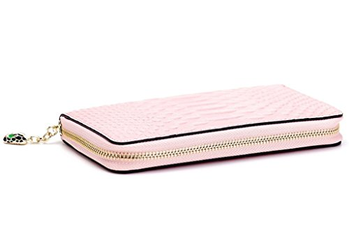 Rindsleder Geldbörsen Damen lange Art-Python-Muster-Reißverschluss-Rosa (Lange Geldbörse Rosa Reißverschluss)