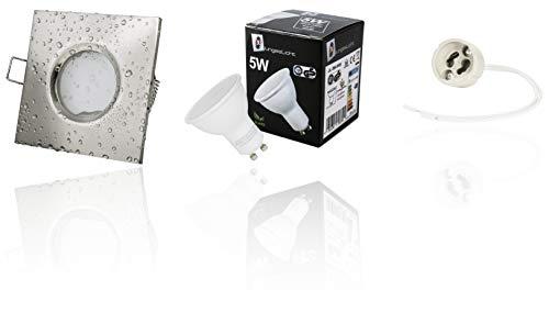 Power LED Badezimmer Einbaustrahler OUT IP65 (Spritzwassergeschützt) 230Volt - 5Watt Deckenstrahler (für Bad, Dusche + Aussenbereich) WARMWEISS