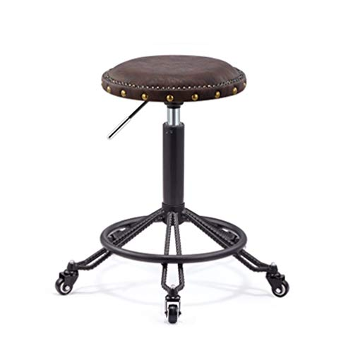 Einstellbarer Höhen Drehhocker Mit Rädern Medizinische Klinik Tattoo Spa Salon Rolling Chair (Schwarz),Brown,C -