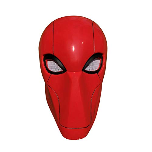 QWEASZER Ungerechtigkeit Liga Red Hood Gang Joker Latex Erwachsenen Maske Supervillain Red Hood Kopfbedeckung Halloween Anime Film Cosplay Kostüm Requisiten,Red-OneSize (Red Hood Helm Kostüm)
