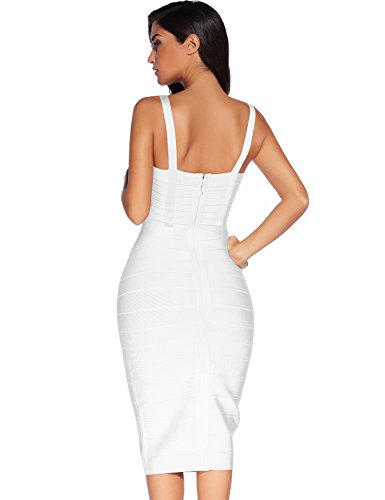 Meilun Les Femmes Bodycon Rayonne Sangle Robe Sans Manches. White-1