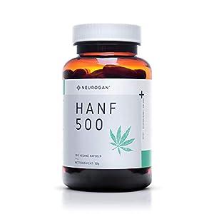 NEUROGAN´s 500 MG vegane Hanf-Kapseln, 100 Stück/Proteinpulver voller Omega 3, 6 & 9 / geschmacklose Hanfpulver-Kapseln/Hanfprotein voller Mineralstoffe & Vitamine/für gesunden Schlaf/ohne THC