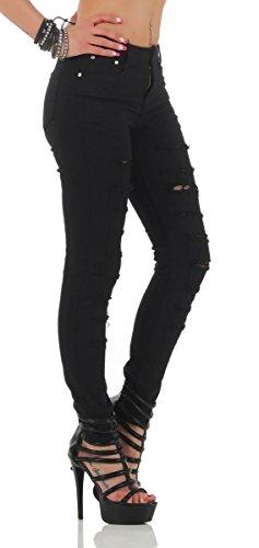 11169 Fashion4Young Knackige Damen Jeans Röhrenjeans Hose Stretch-Denim Skinny Röhre Schwarz