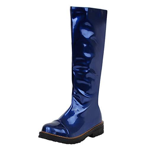 Kriosey-Damen Stiefel Overknees Warm Gefüttert Frauen Lang Stiefel Overknee High Heels Frau Abendschuhe Booties Socken Stiefel Flat Heels Reitstiefel Profilsohle Leder Schlupfstiefel