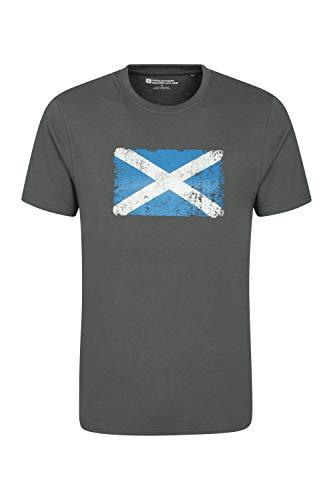 Mountain Warehouse Herren-T-Shirt mit Schottland-Flaggen-Strukturaufdruck - leicht, atmungsaktives Sommer-T-Shirt, pflegeleicht, Bedruckt - Für Reisen, Urlaub, Wandern, Frühling Grau XXX-Large