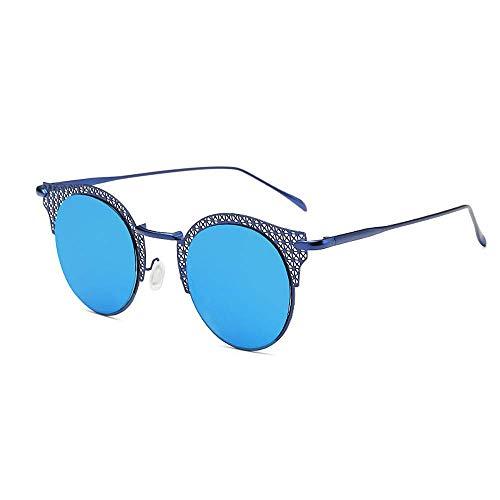 Yiph-Sunglass Sonnenbrillen Mode Frauen Sonnenbrille Runde Retro Cat-Eyed Mesh-Einstellung Metallrahmen-Laufwerk mit Sonnenbrille, um UV-Sonnenbrille zu verhindern (Farbe : Blau)