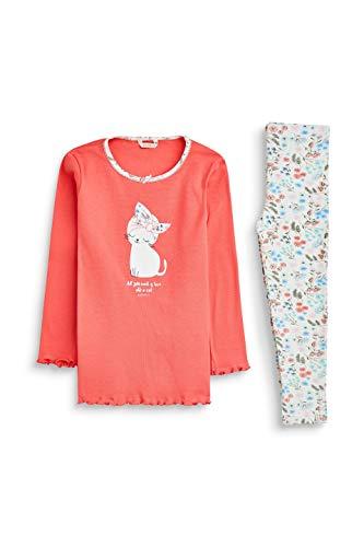 ESPRIT Mädchen Brooks Mg Pyjama Zweiteiliger Schlafanzug, Rot (Coral 645), 128 (Herstellergröße: 128/134)