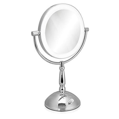 Navaris Espejo de Maquillaje con luz y Aumento - Espejo de Doble Cara con Aumento 1x y 5X -...