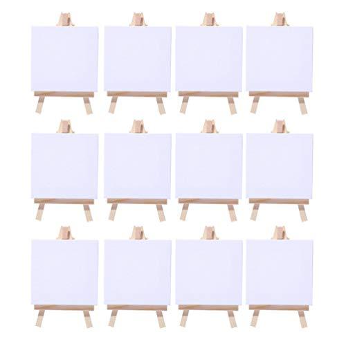 Easy Kunst 12 Sets Mini Staffelei mit Keilrahmen Leinwand Gastgeschenk Tischdeko Hochzeit Neu Baumwolle