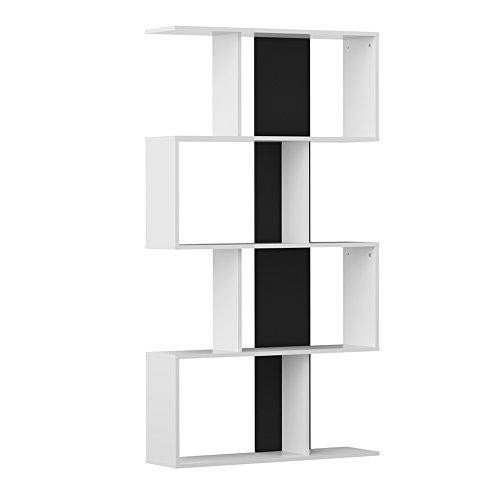 Modern loft samuel a2 libreria, 89x25x165 h cm, bianco, nero, nobilitato