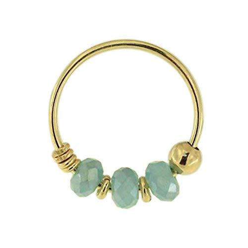 9K Solid Gelb Gold Triple Aqua Jade Kristall Perle 22 Gauge Hoop Nase Piercing Ring Schmuck