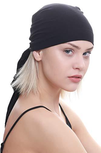 Deresina Headwear Unisex Baumwolle Bandana Fur Haarverlust (Schwarz)