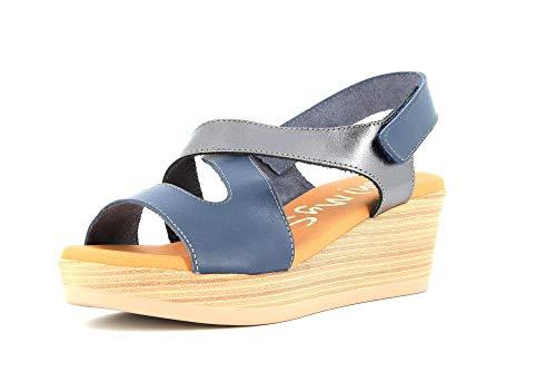 OH! MY SANDALS Zapatos de Mujer Sandalias 4239 Blue Lead Talla 35 BLU/Piombo