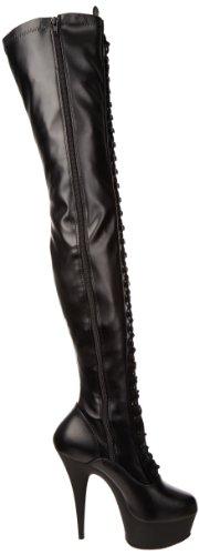 Pleaser Delight-3023, Bottes Classiques femme Noir - Negro (Negro (Blk Str Faux Leather/Blk Matte))