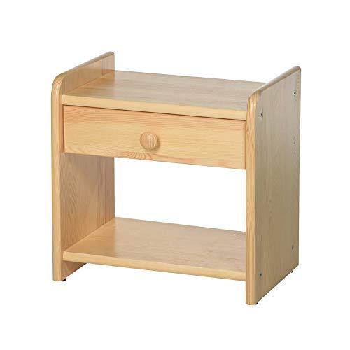 Nachttisch aus Holz für Bettgestell, 41,5 x 42 cm ✓ Robust ✓ Pflegeleicht ✓ 2 Ablagen | Massiver Beistelltisch für Kieferbett von acerto | Nachtschrank, Nachtkommode Kiefer mit Schublade -