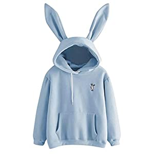 BaojunHT Girl Rabbit Hoodie Cute Long Sleeve Sweatshirt Embroidery Pullover Blouse Gift