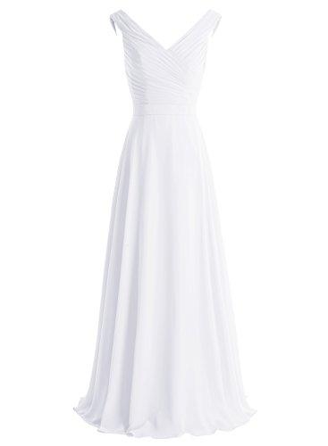 Bbonlinedress Robe de cérémonie et de demoiselle d'honneur plissée col V sans manches et strass longueur ras du sol en mousseline Blanc