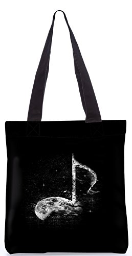 Snoogg Grey Music Designer Poly Canvas Fashion Printed Shopping Shoulder Lunch Tote Bag For Women