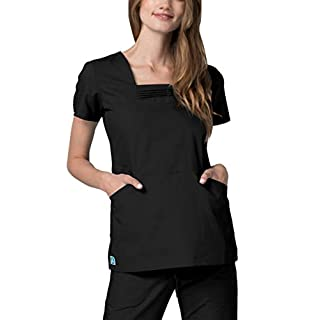 Universal Women's Pin Tuck Pleated Soft Elastic Scrub Top, Color: BLK | Size: M