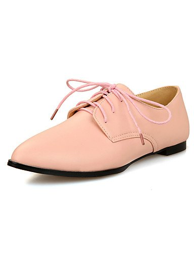 ZQ Scarpe Donna - Stringate - Tempo libero / Ufficio e lavoro / Casual - Comoda / A punta / Chiusa - Piatto - Finta pelle -Nero / Rosa / , pink-us10.5 / eu42 / uk8.5 / cn43 , pink-us10.5 / eu42 / uk8. white-us10.5 / eu42 / uk8.5 / cn43
