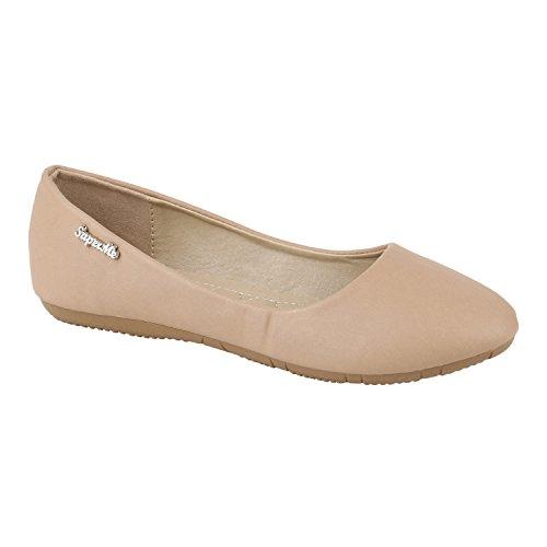 Klassische Damen Ballerinas | Flats Leder-Optik Lack | Metallic Schuhe Glitzer Schleifen | Ballerina Schuhe Übergrößen Khaki Glatt