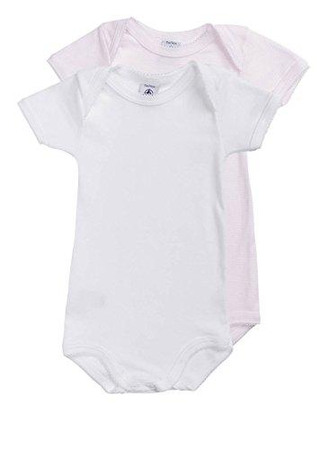 Petit Bateau 66559–Lot de 2Bodys Baby Mädchen Kurzärmelig, Einfarbig und gestreift Gr. 24 Monate,  - Rose Pale/Blanc
